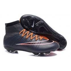 Nouvelles 2016 Nike Mercurial Superfly FG ACC Crampons Football Noir Orange