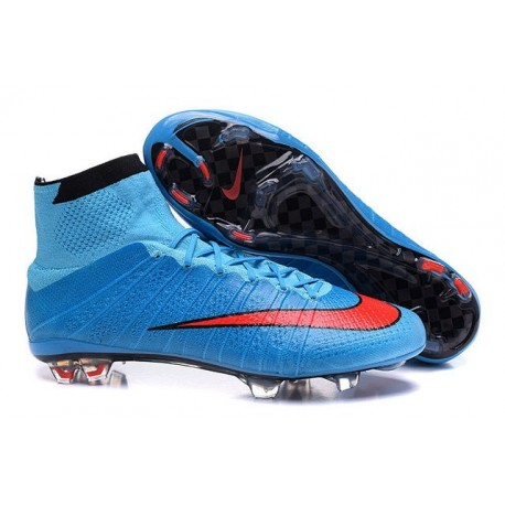 Cristiano Ronaldo CR Chaussure 2016 Nike Mercurial Superfly FG Bleu Rouge