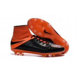 Chaussures de Foot à Crampons Nike HyperVenom Phantom 2 FG Cuir Noir Orange