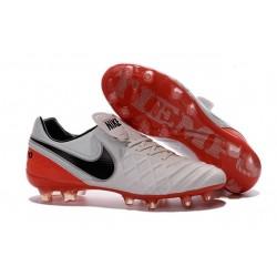 Nouveaux 2016 Chaussures Cuir de Kangourou Nike Tiempo Legend VI FG ACC Blanc Rouge Noir
