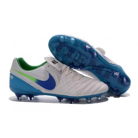 Nouveaux 2016 Chaussures Cuir de Kangourou Nike Tiempo Legend VI FG ACC Blanc Bleu