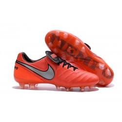 Nouveaux 2016 Chaussures Cuir de Kangourou Nike Tiempo Legend VI FG ACC Rouge Argent