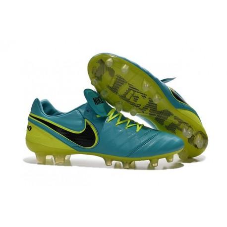 Nouveaux 2016 Chaussures Cuir de Kangourou Nike Tiempo Legend VI FG ACC Bleu Volt Noir
