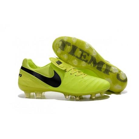 Nouveaux 2016 Chaussures Cuir de Kangourou Nike Tiempo Legend VI FG ACC Fluo Noir