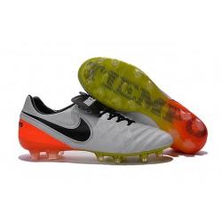 Nouveaux 2016 Chaussures Cuir de Kangourou Nike Tiempo Legend VI FG ACC Blanc Noir Orange