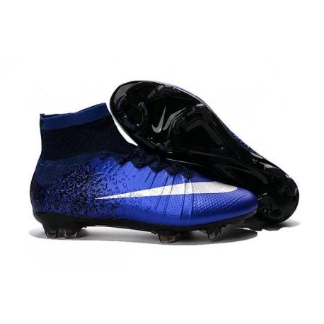 Cristiano Ronaldo CR Chaussure 2016 Nike Mercurial Superfly FG Bleu Royal Argent