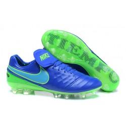 Nouveaux 2016 Chaussures Cuir de Kangourou Nike Tiempo Legend VI FG ACC Bleu Vert