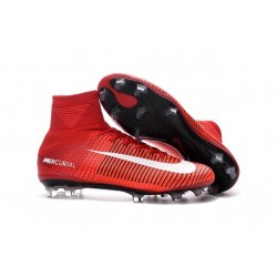 Chaussures a Crampons Nouvel 2016 Nike Mercurial Superfly V FG Rouge Blanc