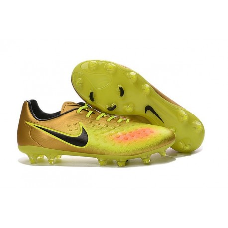Crampons Football Nouvel Nike Magista Opus 2 FG ACC Or Jaune Noir