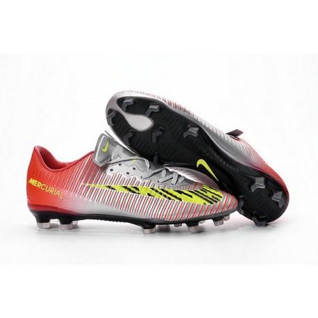 Nike Chaussures de Foot Mercurial Vapor XI FG Argent Rouge Jaune