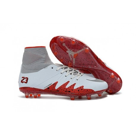 Chaussures de Foot Nike Hypervenom II Phantom NJR X Jordan FG Blanc Rouge