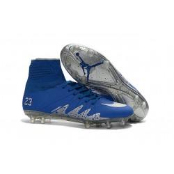 Chaussures de Foot Nike Hypervenom II Phantom NJR X Jordan FG Bleu Argent