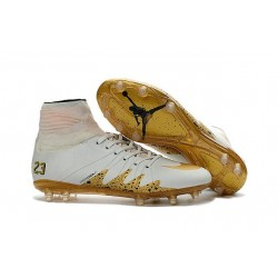 Chaussures de Foot Nike Hypervenom II Phantom NJR X Jordan FG Blanc Or