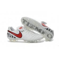 Crampon Football Cuir Nike Tiempo Legend VI FG Blanc Rouge
