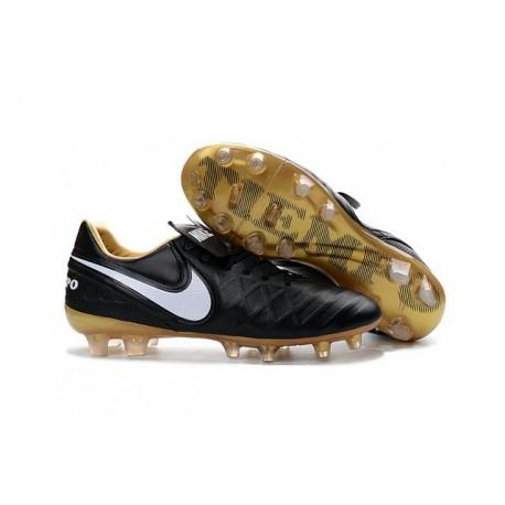 Crampon Football Cuir Nike Tiempo Legend VI FG Noir Rouge Or