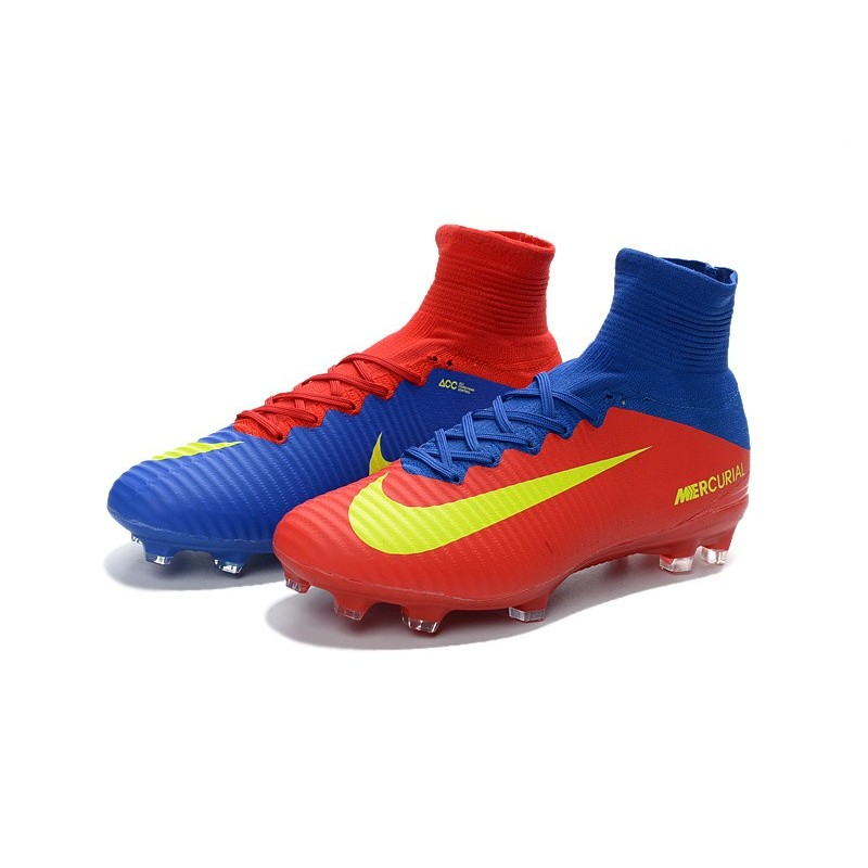 Chaussures de Foot Nike Mercurial Superfly V FG Rouge Jaune