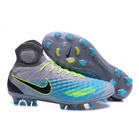 Crampons de Football Meilleurs Nike Magista Obra II FG Gris Bleu