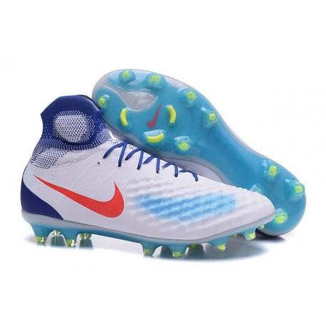 Crampons de Football Meilleurs Nike Magista Obra II FG Blanc Bleu Rouge