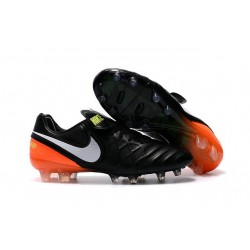 Crampon Football Cuir Nike Tiempo Legend VI FG Noir Orange Blanc