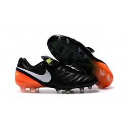 Crampon Football Cuir Nike Tiempo Legend VI FG Noir Orange Blanc