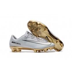 Nike Mercurial Vapor Vitórias XI CR7 FG ACC Chaussures Foot Blanc Or
