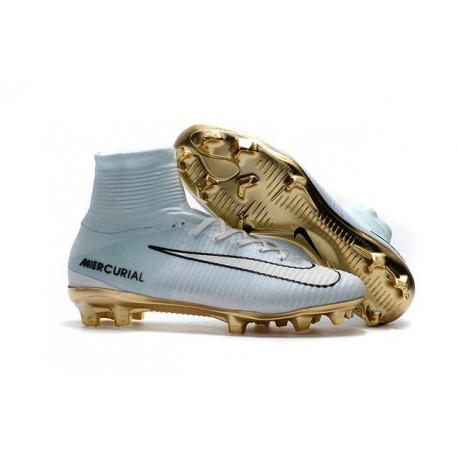 Nike Mercurial Superfly V CR7 Vitórias FG Chaussure de Foot Blanc Or