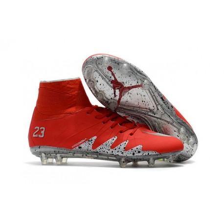 Crampon de Foot Neymar Jordan NJR Nike HyperVenom Phantom II FG Rouge Argent