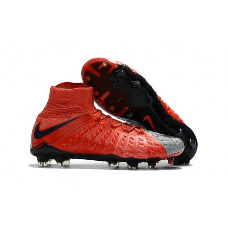 Chaussure de Foot Nike HyperVenom Phantom 3 FG Rouge Gris