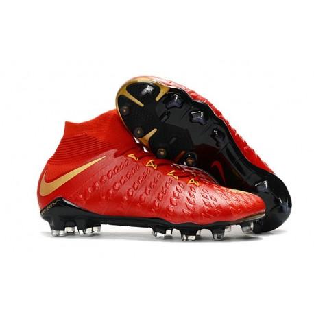 Chaussure de Foot Nike HyperVenom Phantom 3 FG Rouge Or