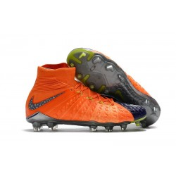 Chaussure de Foot Nike HyperVenom Phantom 3 DF FG Orange Bleu