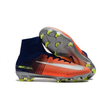Nike Mercurial Superfly V FG Nouvelle Chaussures de Foot Bleu Chrome Carmin