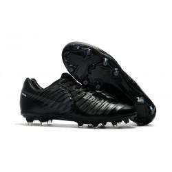 Chaussure de Foot Nouvelles Nike Tiempo Legend VII FG Cuir - Tout Noir