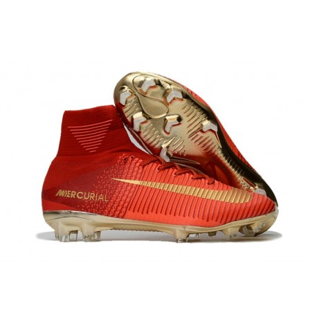 Nike Mercurial Superfly V FG Nouvelle Chaussures de Foot Rouge Or