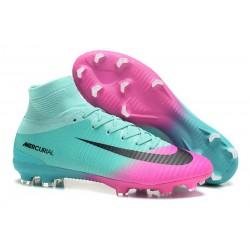 Crampons de Football Homme Nouveau Nike Mercurial Superfly V FG Bleu Rose