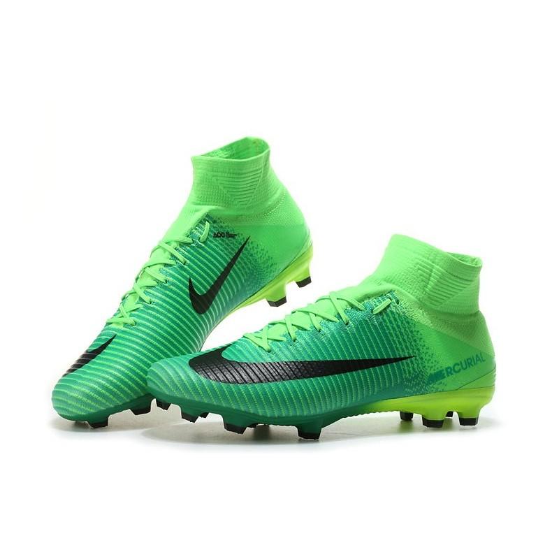 new style 536b9 5c881 Nike Mercurial Superfly V FG Nouvelle Chaussures de Foot Vert Noir Zoom.  Précédent. Suivant