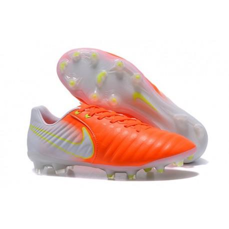 Chaussure de Foot Nouvelles Nike Tiempo Legend VII FG Cuir - Orange Blanc