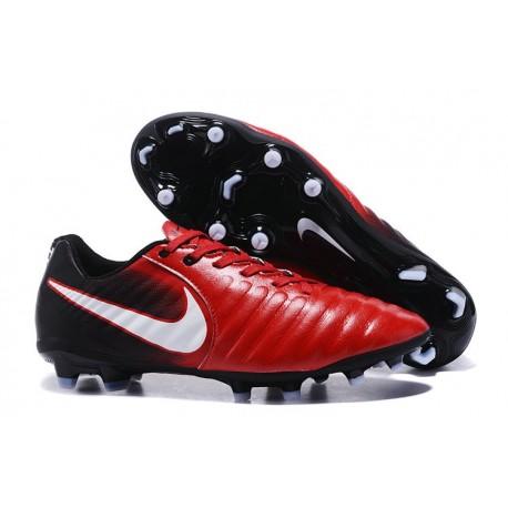 Chaussure de Foot Nouvelles Nike Tiempo Legend VII FG Cuir - Rouge Noir Blanc