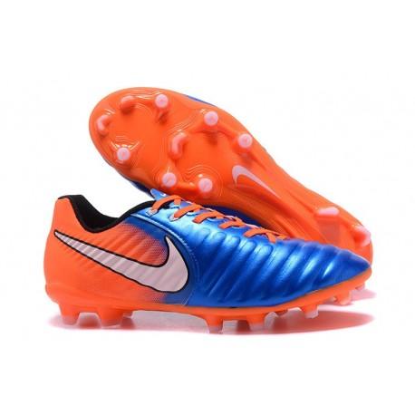 Nike Tiempo Legend 7 FG Kangourou Crampons Football - Bleu Orange