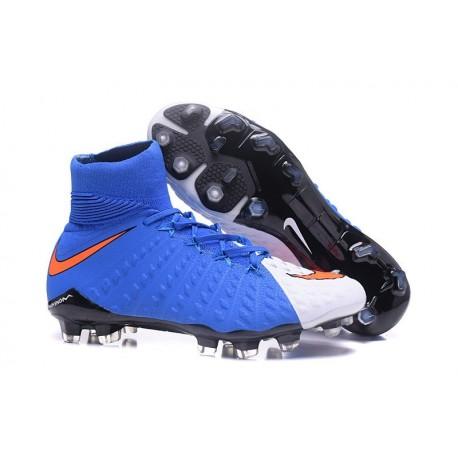 Nike Crampon Football Nouvel 2017 HyperVenom Phantom III DF FG Bleu Blanc