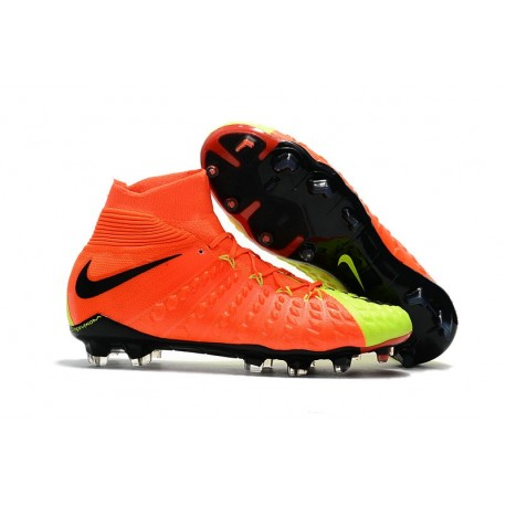 Nike HyperVenom Phantom 3 DF FG ACC Flyknit Chaussures - Orange Jaune