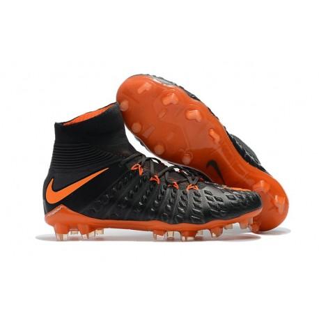 Nike HyperVenom Phantom 3 DF FG ACC Flyknit Chaussures - Noir Orange