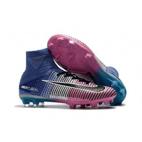 on sale 10ef6 c3dc9 Nike Mercurial Superfly 5 FG Nouvel Chaussure Football - Bleu Rose Noir