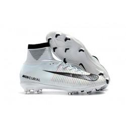 Nike Ronaldo Crampons de Foot Mercurial Superfly V DF CR7 FG - Blanc Noir