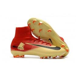 Nike Crampons de Foot Mercurial Superfly V DF FG - Rouge Or