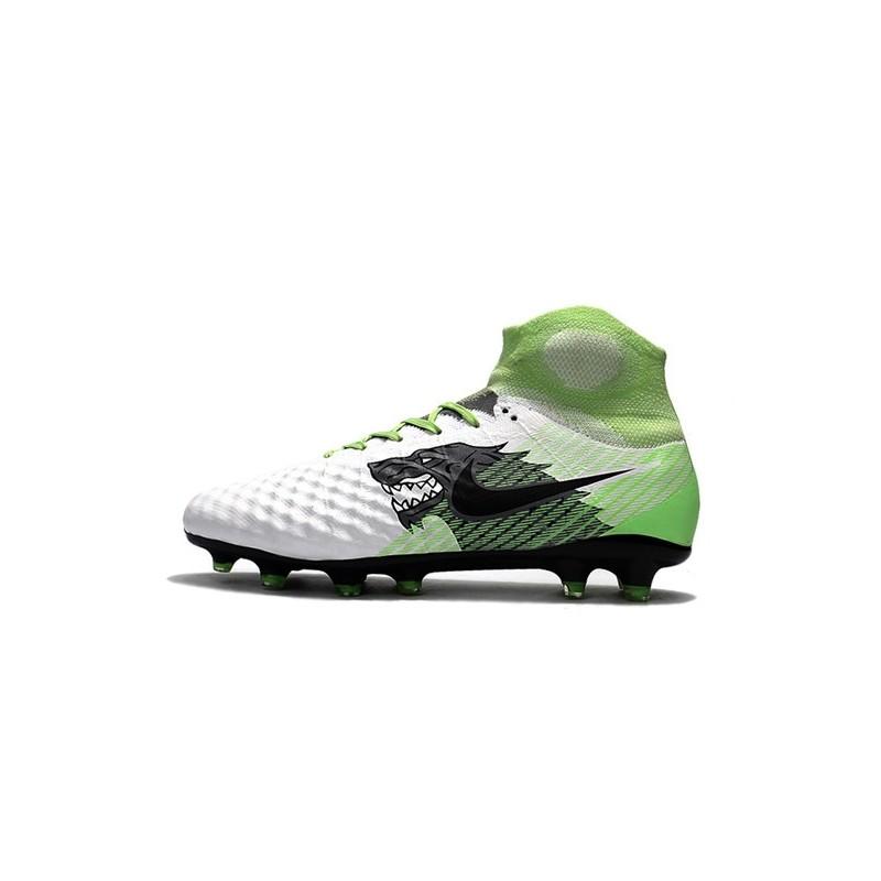 free shipping 6a9c8 cf389 Chaussure de Foot Nouvelles Nike Magista Obra II FG - Blanc Noir Vert Zoom.  Précédent · Suivant