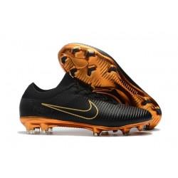 Chaussures Nouveaux Nike Mercurial Vapor Flyknit Ultra FG - Noir Or