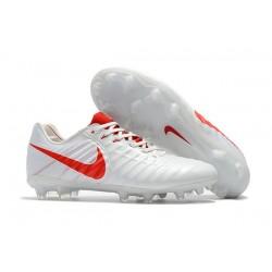 Nike Tiempo Legend 7 FG Kangourou Crampons Football - Blanc Rouge