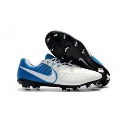 Chaussures Nouvel Nike Tiempo Legend VII FG ACC - Blanc Bleu