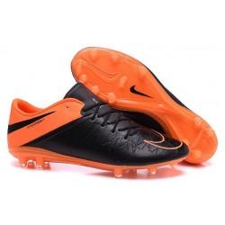 Crampons Nouveaux 2016 Neymar Nike Hypervenom Phinish FG Cuir Orange Noir