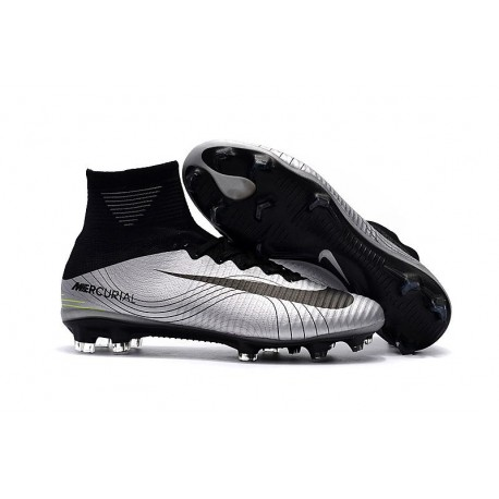 Nike Crampons de Foot Mercurial Superfly V DF FG - Argent Noir